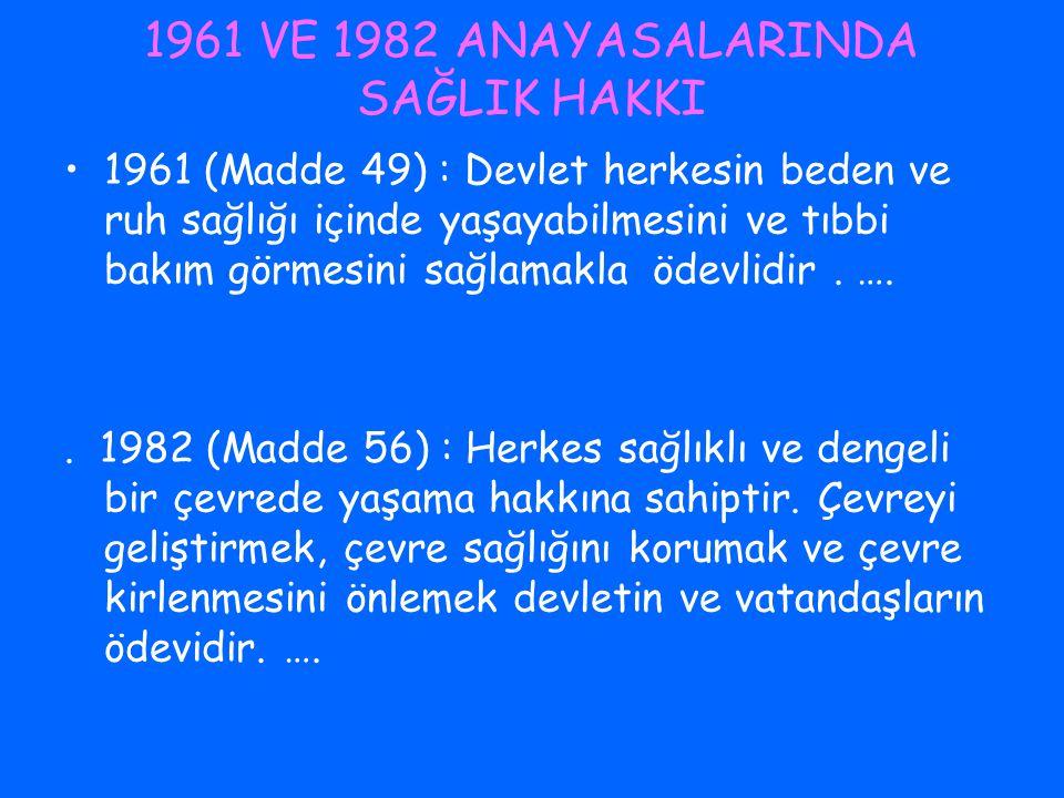 1961 VE 1982 ANAYASALARINDA SAĞLIK HAKKI