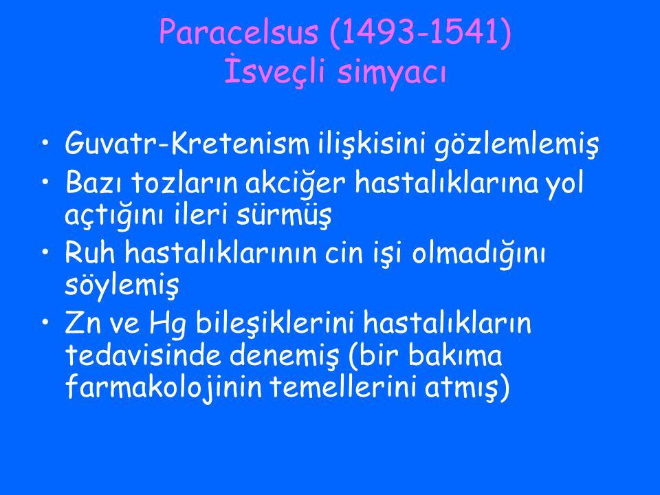 Paracelsus (1493-1541) İsveçli simyacı