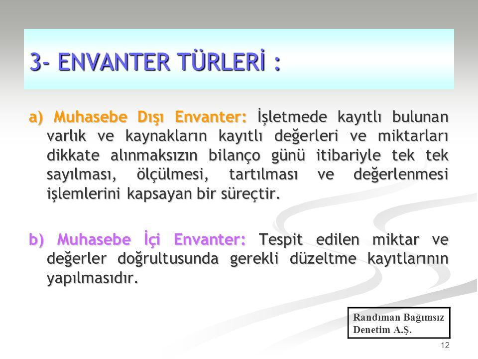 3- ENVANTER TÜRLERİ :