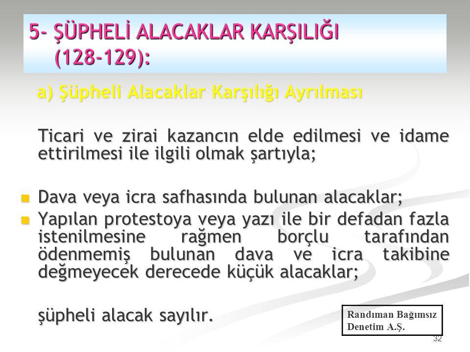 5- ŞÜPHELİ ALACAKLAR KARŞILIĞI (128-129):