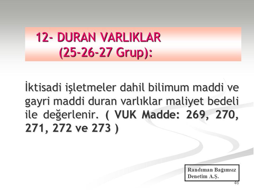 12- DURAN VARLIKLAR (25-26-27 Grup):