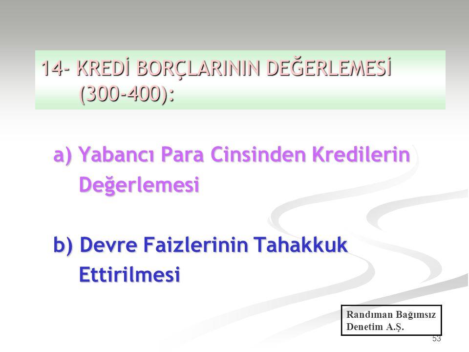 14- KREDİ BORÇLARININ DEĞERLEMESİ (300-400):