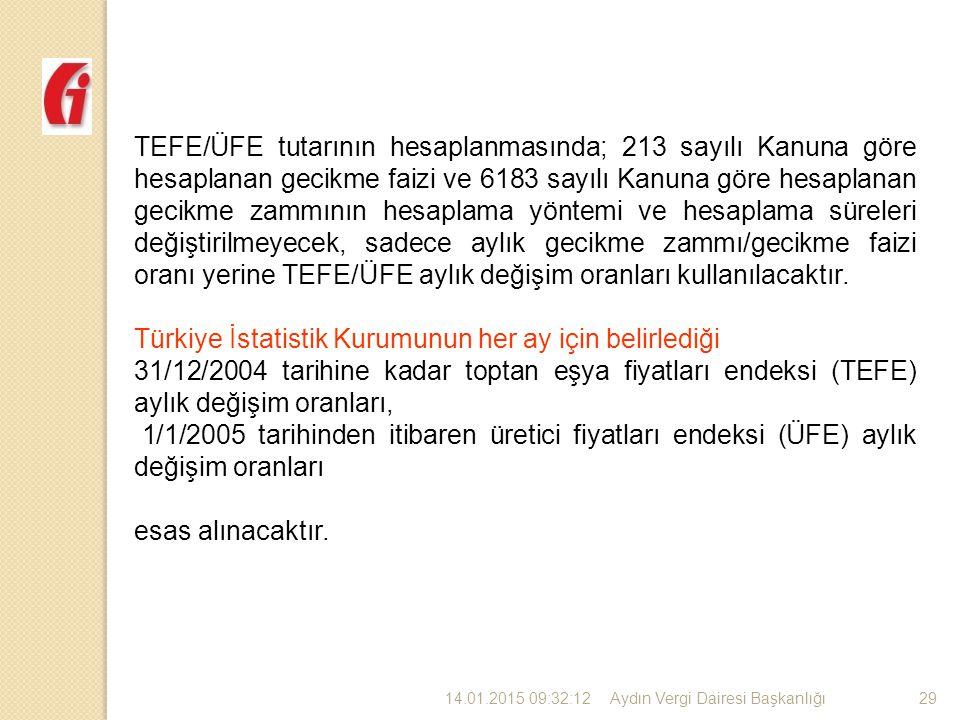Türkiye İstatistik Kurumunun her ay için belirlediği