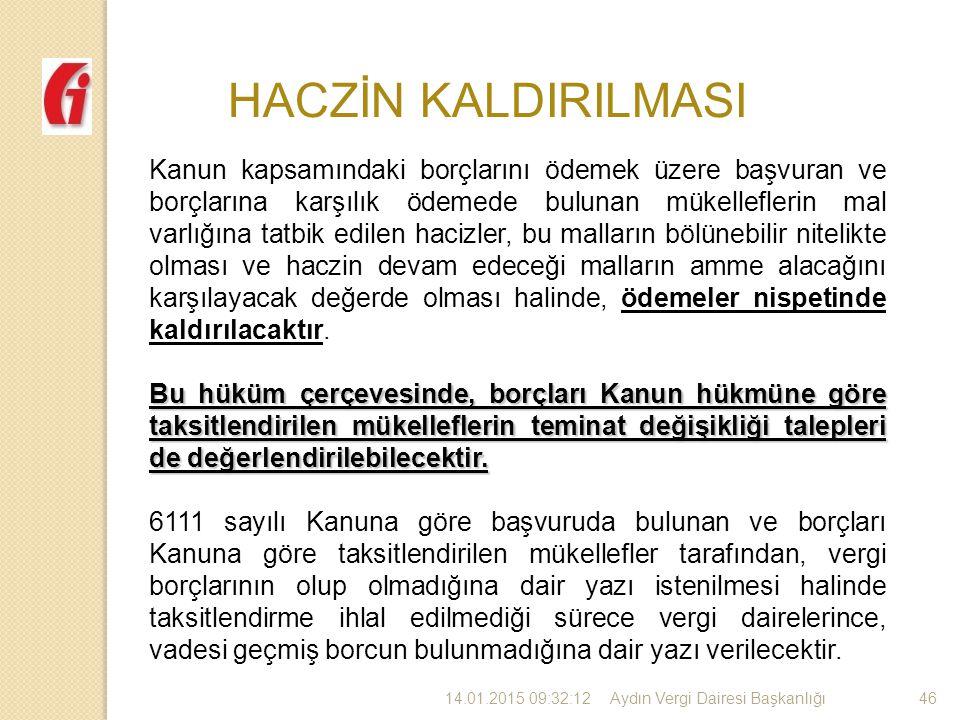 HACZİN KALDIRILMASI