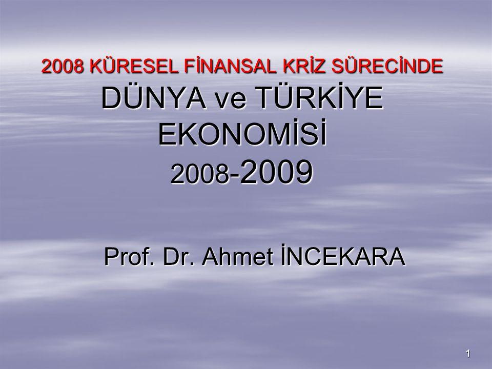 2008 KÜRESEL FİNANSAL KRİZ SÜRECİNDE DÜNYA ve TÜRKİYE EKONOMİSİ 2008-2009