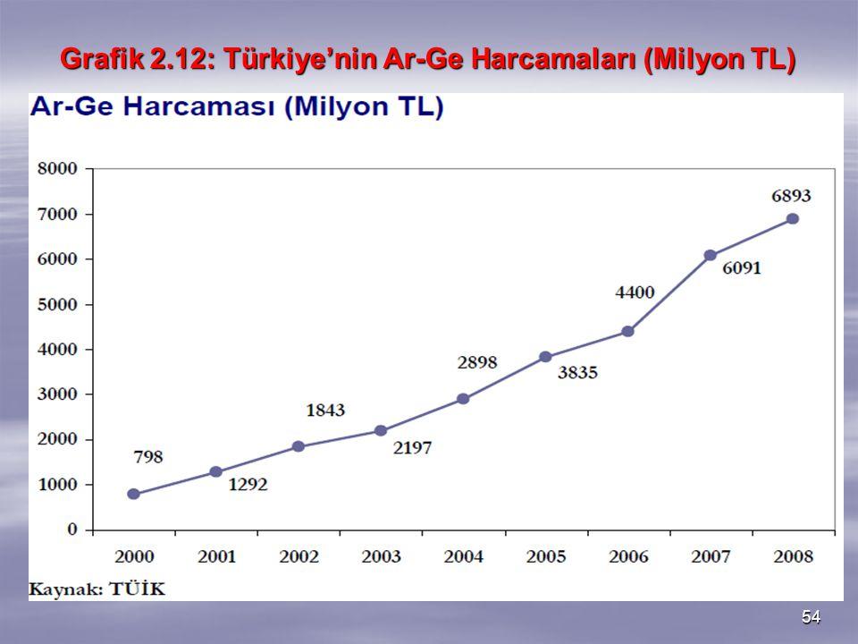 Grafik 2.12: Türkiye'nin Ar-Ge Harcamaları (Milyon TL)