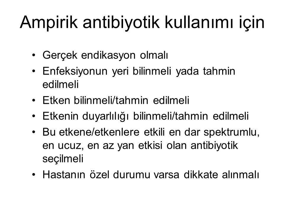 Ampirik antibiyotik kullanımı için