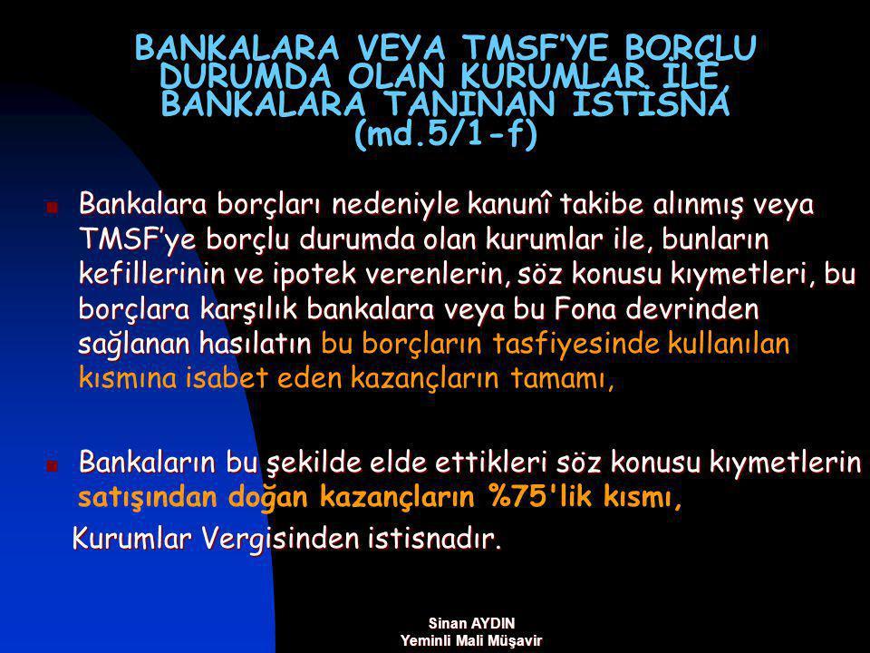BANKALARA VEYA TMSF'YE BORÇLU DURUMDA OLAN KURUMLAR İLE, BANKALARA TANINAN İSTİSNA (md.5/1-f)
