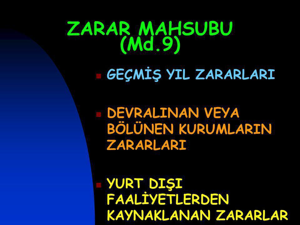 ZARAR MAHSUBU (Md.9) GEÇMİŞ YIL ZARARLARI