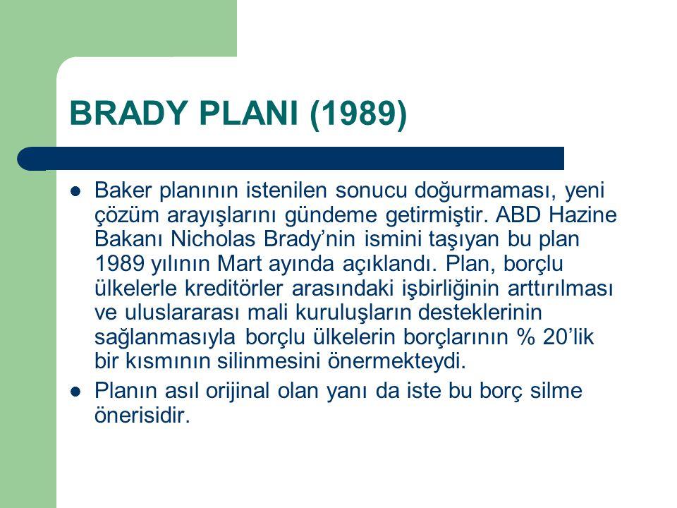 BRADY PLANI (1989)
