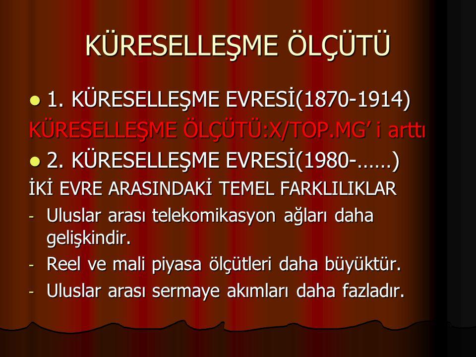 KÜRESELLEŞME ÖLÇÜTÜ 1. KÜRESELLEŞME EVRESİ(1870-1914)