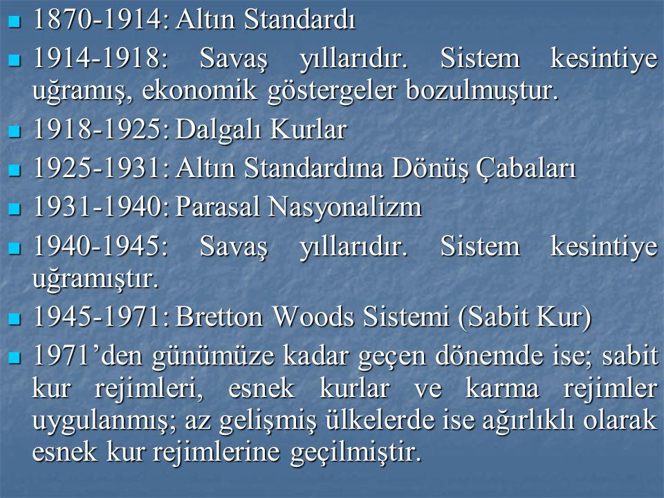 1870-1914: Altın Standardı 1914-1918: Savaş yıllarıdır. Sistem kesintiye uğramış, ekonomik göstergeler bozulmuştur.