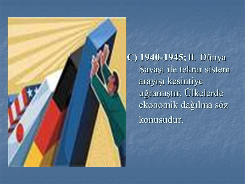 C) 1940-1945; II. Dünya Savaşı ile tekrar sistem arayışı kesintiye uğramıştır.