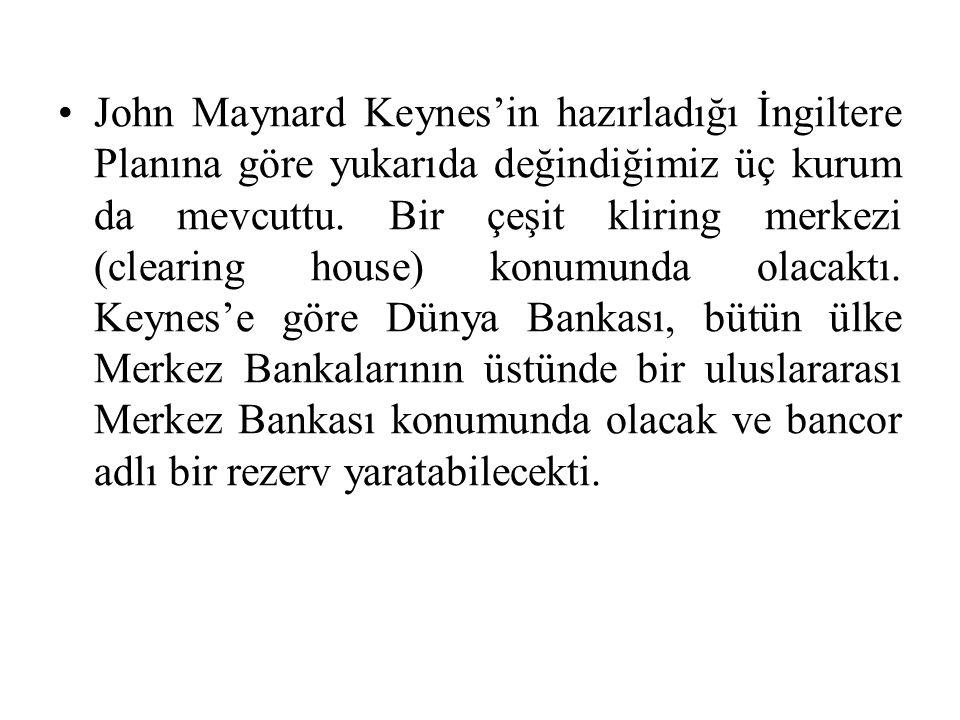 John Maynard Keynes'in hazırladığı İngiltere Planına göre yukarıda değindiğimiz üç kurum da mevcuttu.