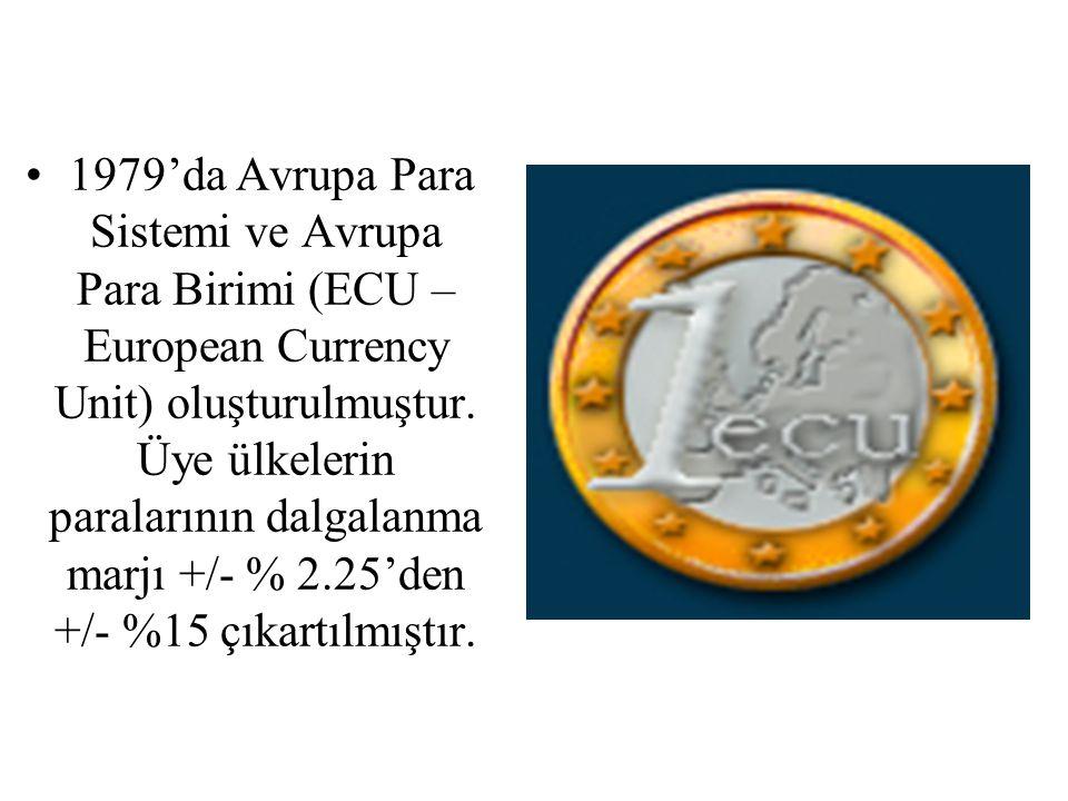 1979'da Avrupa Para Sistemi ve Avrupa Para Birimi (ECU – European Currency Unit) oluşturulmuştur.
