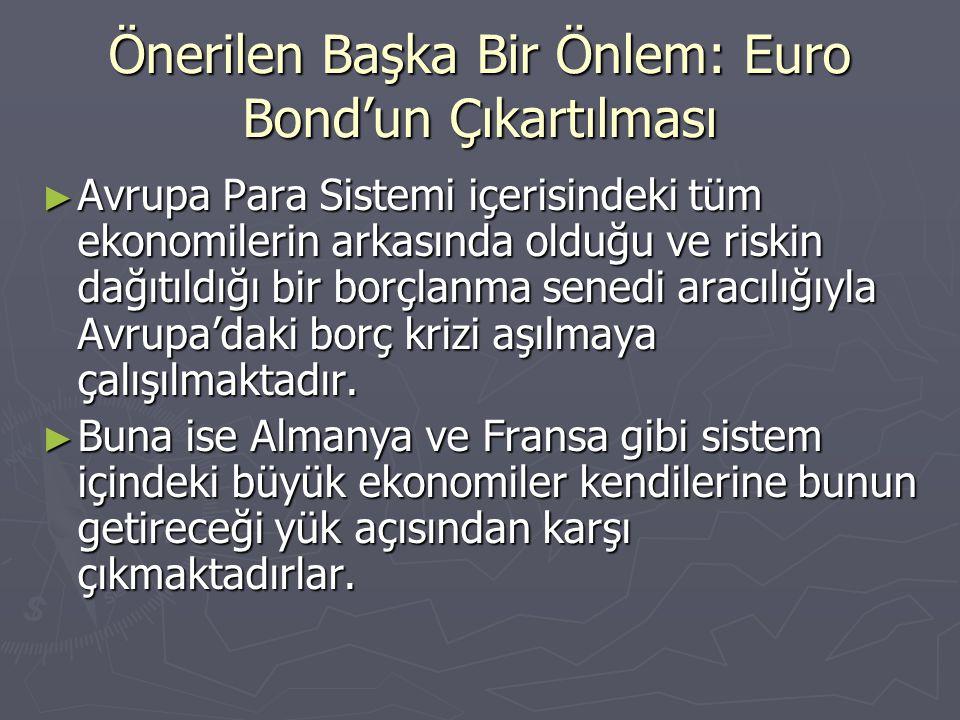 Önerilen Başka Bir Önlem: Euro Bond'un Çıkartılması