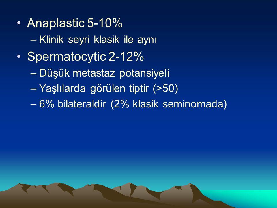 Anaplastic 5-10% Spermatocytic 2-12% Klinik seyri klasik ile aynı