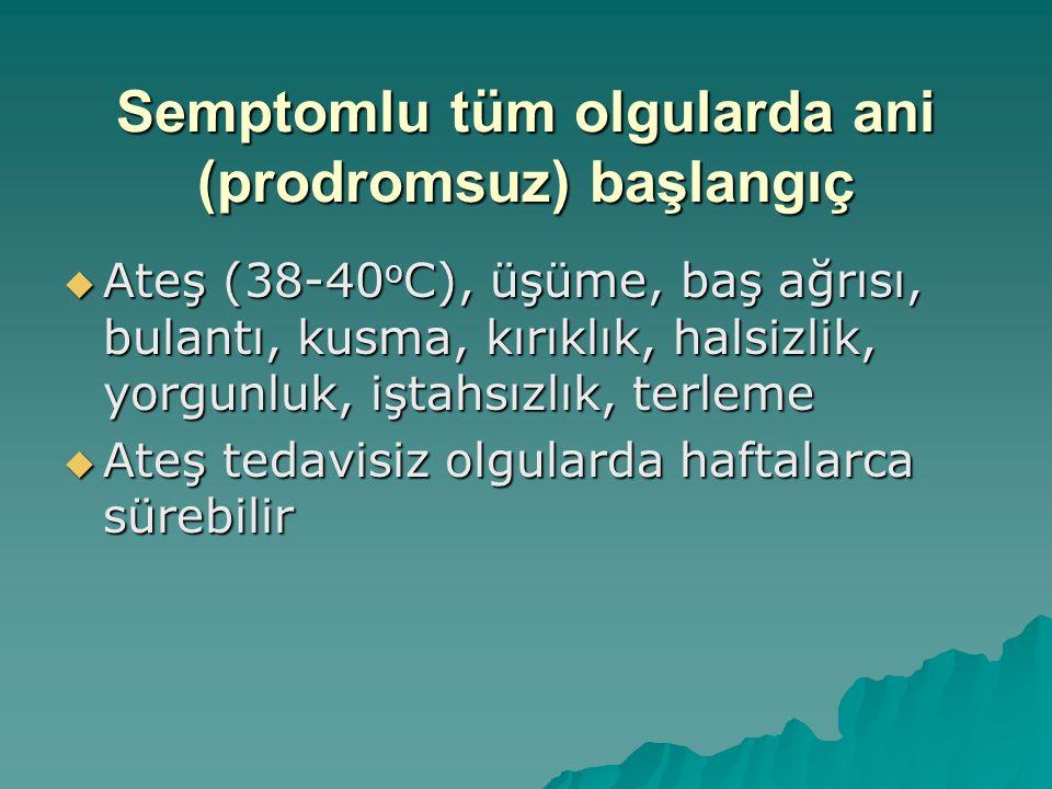 Semptomlu tüm olgularda ani (prodromsuz) başlangıç