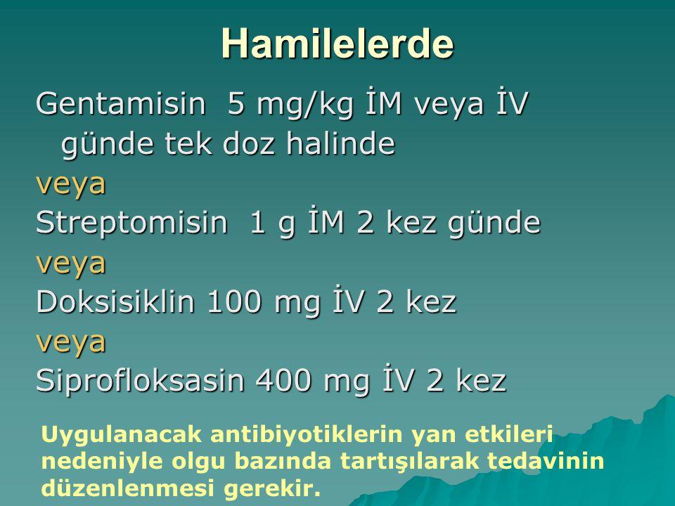 Hamilelerde Gentamisin 5 mg/kg İM veya İV günde tek doz halinde veya