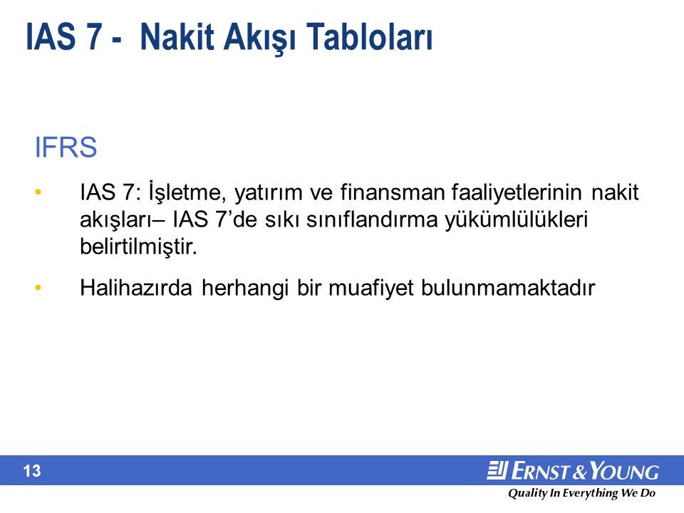 IAS 7 - Nakit Akışı Tabloları - Sorun