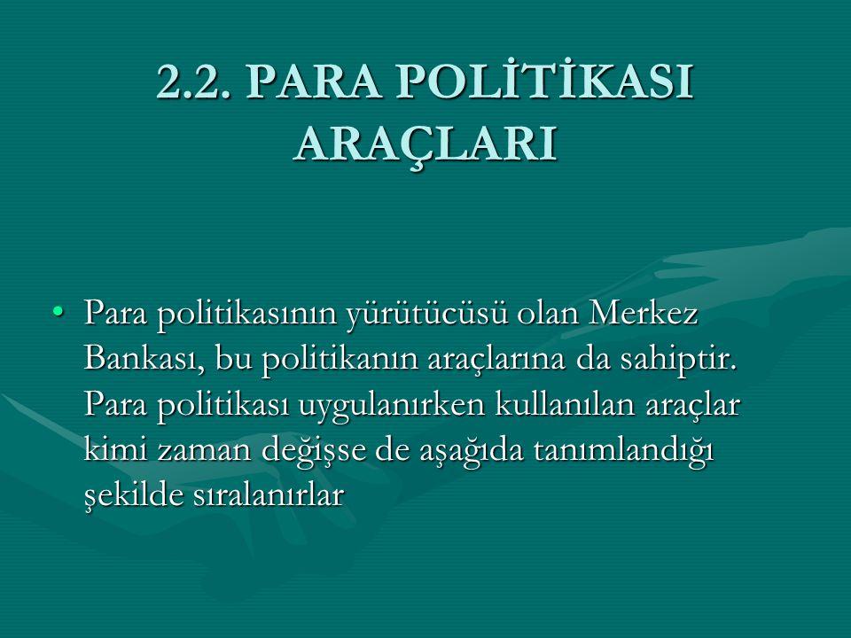 2.2. PARA POLİTİKASI ARAÇLARI
