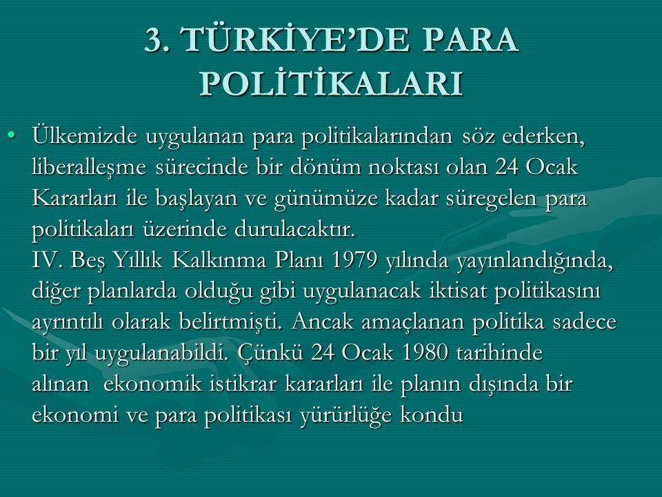 3. TÜRKİYE'DE PARA POLİTİKALARI