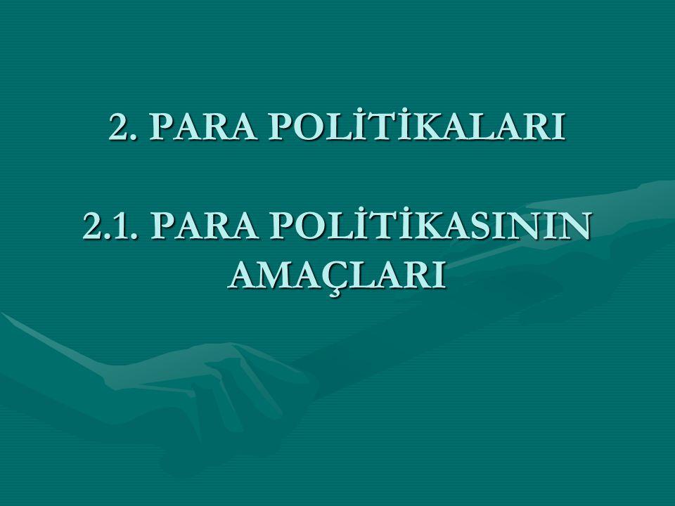 2. PARA POLİTİKALARI 2.1. PARA POLİTİKASININ AMAÇLARI