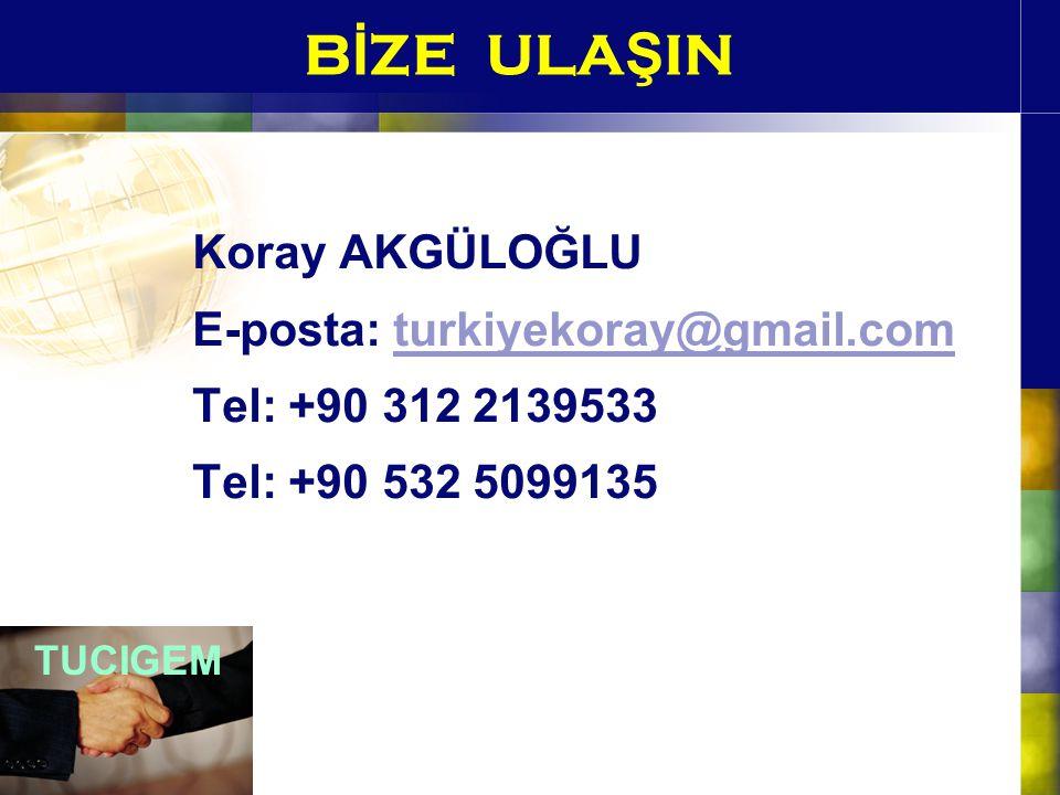 BİZE ULAŞIN Koray AKGÜLOĞLU E-posta: turkiyekoray@gmail.com