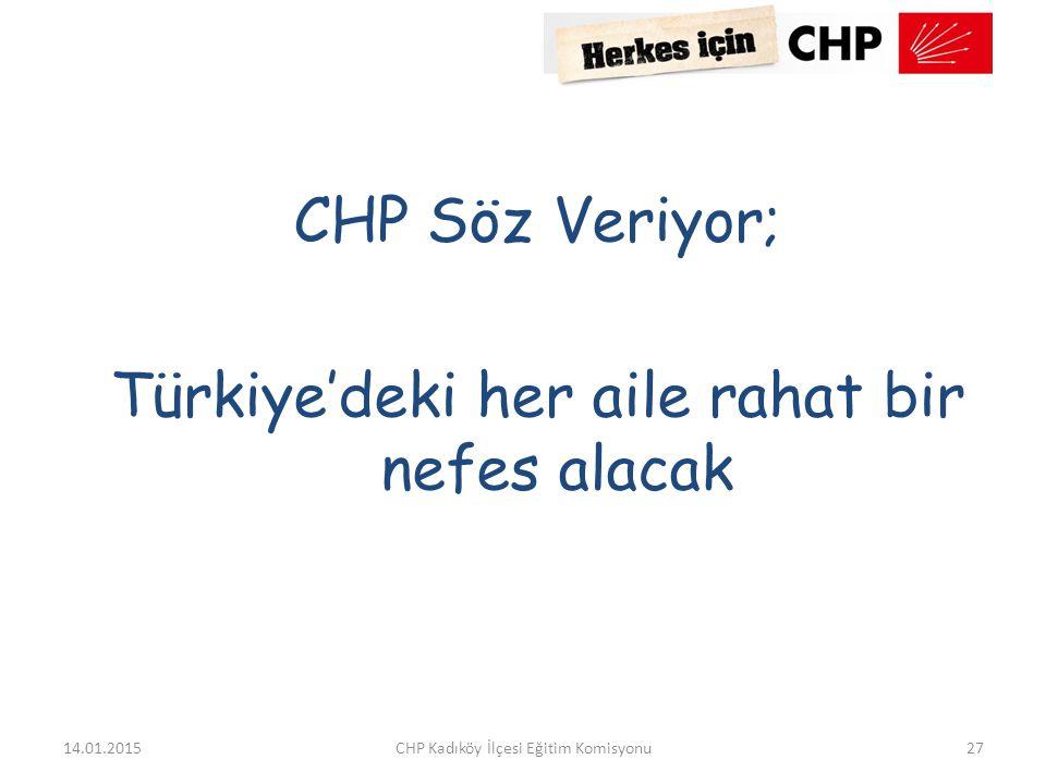CHP Söz Veriyor; Türkiye'deki her aile rahat bir nefes alacak