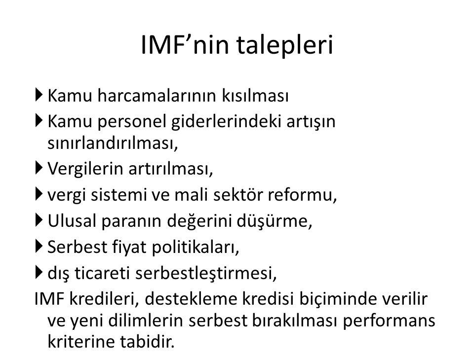 IMF'nin talepleri Kamu harcamalarının kısılması
