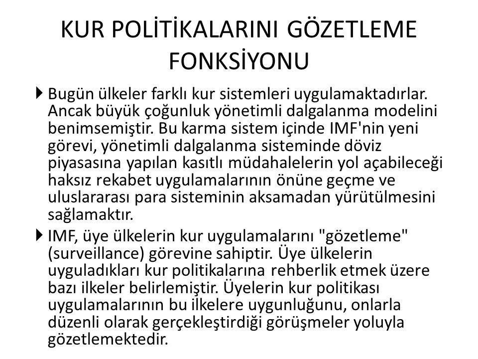KUR POLİTİKALARINI GÖZETLEME FONKSİYONU