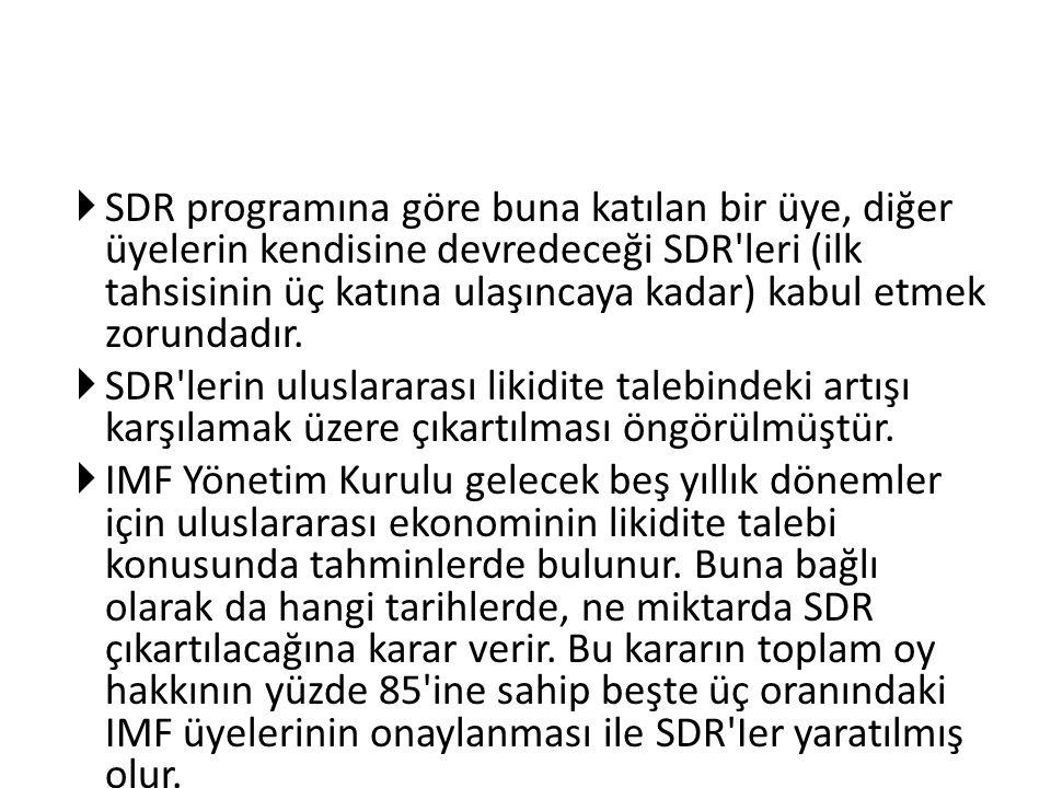 SDR programına göre buna katılan bir üye, diğer üyelerin kendisine devredeceği SDR leri (ilk tahsisinin üç katına ulaşıncaya kadar) kabul etmek zorundadır.