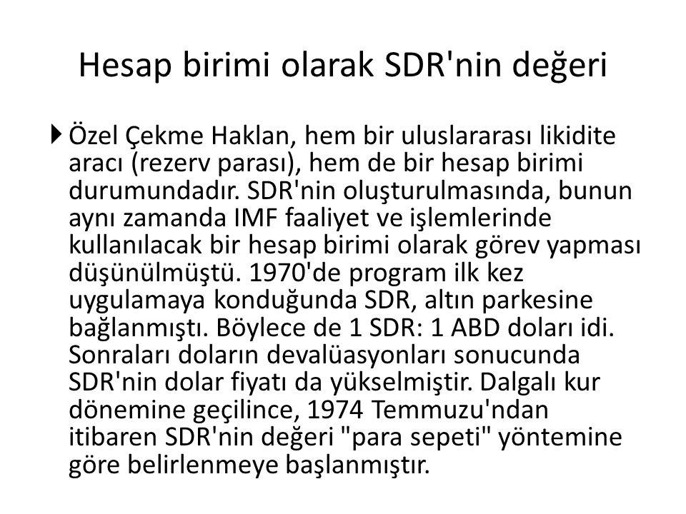 Hesap birimi olarak SDR nin değeri