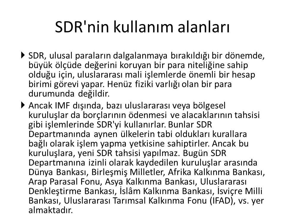 SDR nin kullanım alanları