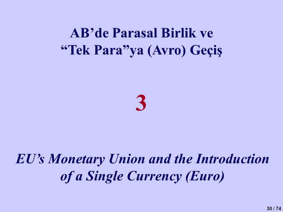 3 AB'de Parasal Birlik ve Tek Para ya (Avro) Geçiş
