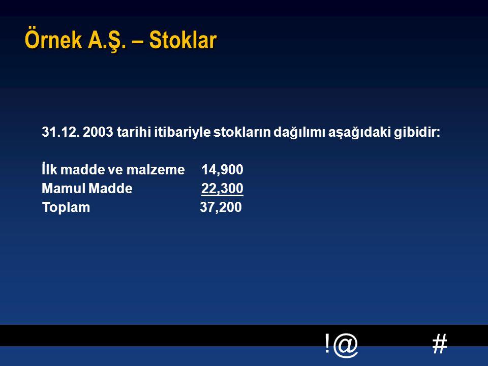 Örnek A.Ş. – Stoklar 31.12. 2003 tarihi itibariyle stokların dağılımı aşağıdaki gibidir: İlk madde ve malzeme.
