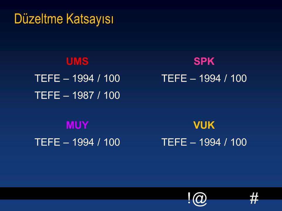 Düzeltme Katsayısı UMS TEFE – 1994 / 100 TEFE – 1987 / 100 SPK MUY VUK