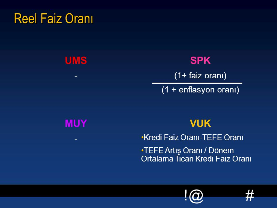 Reel Faiz Oranı UMS SPK MUY VUK - (1+ faiz oranı)