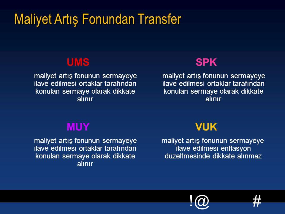 Maliyet Artış Fonundan Transfer