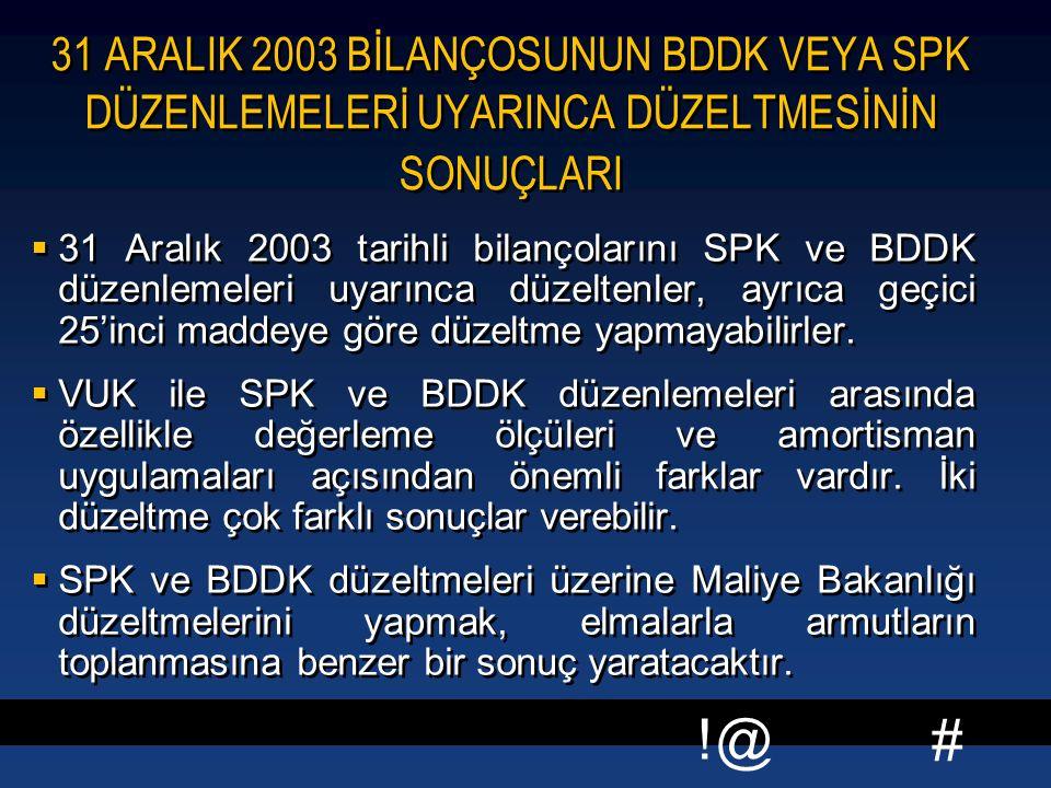 31 ARALIK 2003 BİLANÇOSUNUN BDDK VEYA SPK DÜZENLEMELERİ UYARINCA DÜZELTMESİNİN SONUÇLARI