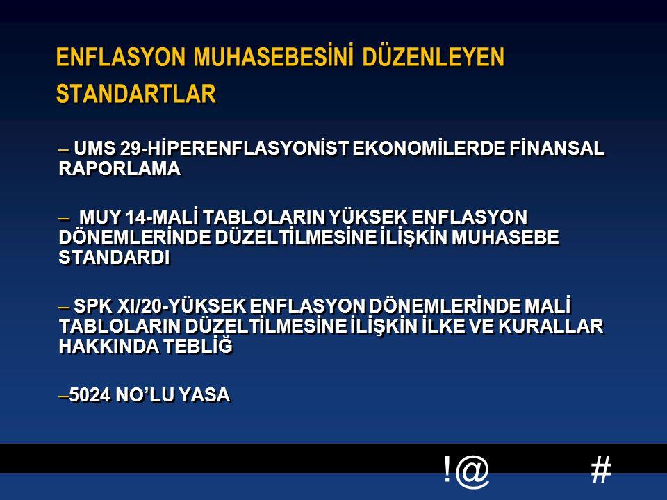 ENFLASYON MUHASEBESİNİ DÜZENLEYEN STANDARTLAR