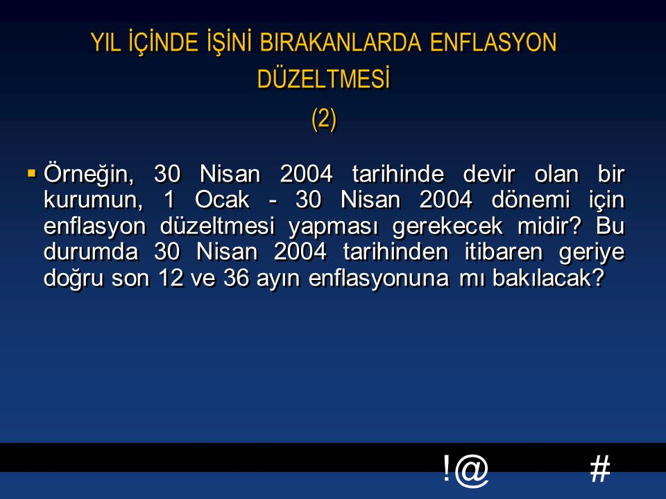 YIL İÇİNDE İŞİNİ BIRAKANLARDA ENFLASYON DÜZELTMESİ (2)