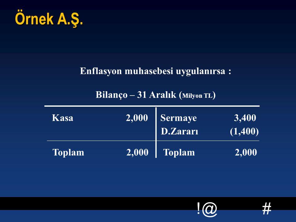 Enflasyon muhasebesi uygulanırsa : Bilanço – 31 Aralık (Milyon TL)