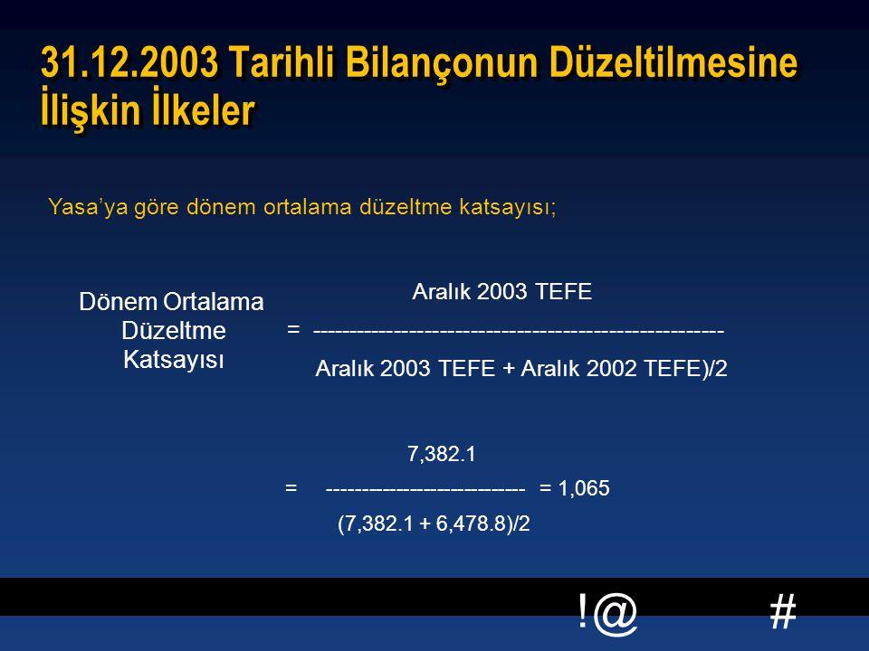31.12.2003 Tarihli Bilançonun Düzeltilmesine İlişkin İlkeler
