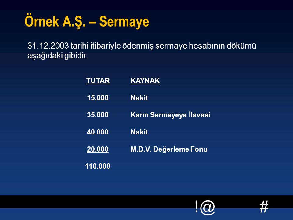 Örnek A.Ş. – Sermaye 31.12.2003 tarihi itibariyle ödenmiş sermaye hesabının dökümü aşağıdaki gibidir.