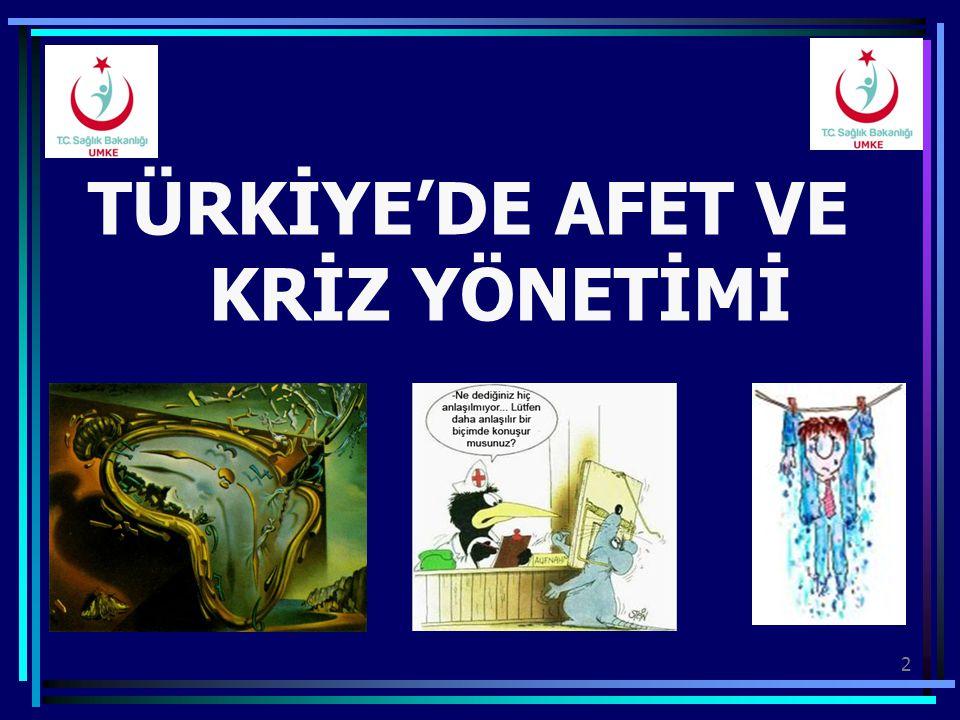 TÜRKİYE'DE AFET VE KRİZ YÖNETİMİ