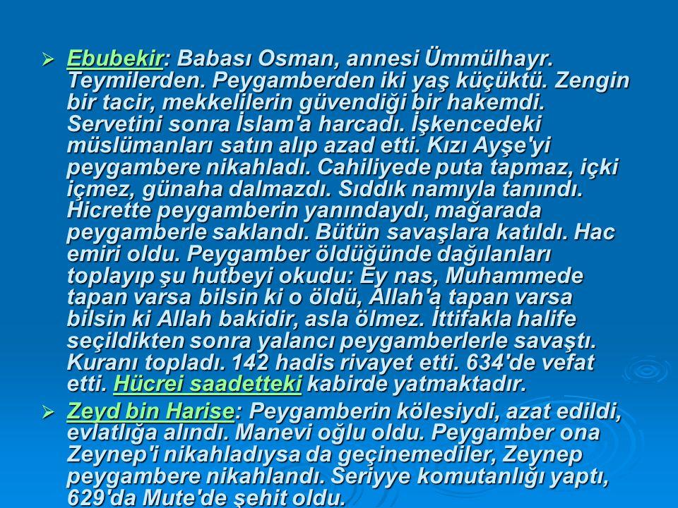 Ebubekir: Babası Osman, annesi Ümmülhayr. Teymilerden