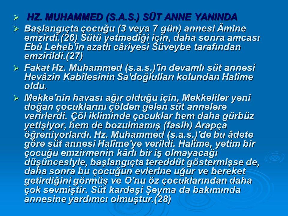 HZ. MUHAMMED (S.A.S.) SÜT ANNE YANINDA