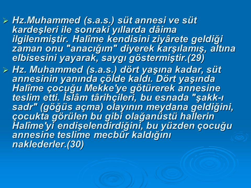 Hz.Muhammed (s.a.s.) süt annesi ve süt kardeşleri ile sonraki yıllarda dâima ilgilenmiştir. Halîme kendisini ziyârete geldiği zaman onu anacığım diyerek karşılamış, altına elbisesini yayarak, saygı göstermiştir.(29)