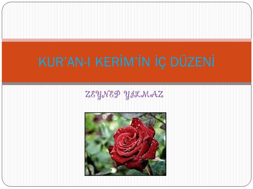 KUR'AN-I KERİM'İN İÇ DÜZENİ